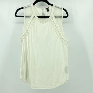 J Crew white tank with 100% silk on raglan panel